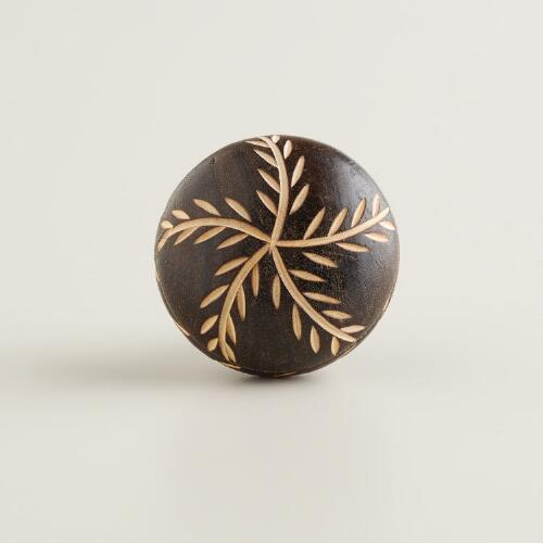 Brown Carved Wood Vine Knobs, Set of 2