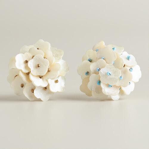 Mother of Pearl Knobs with Blue Beads, Set of 2
