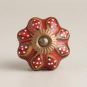 Red and Brown Ceramic Knobs, Set of 2