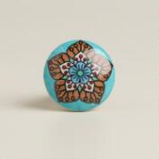Turquoise Round Floral Knobs, Set of 2
