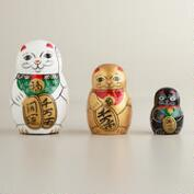 Japanese Lucky Cat Nesting Doll