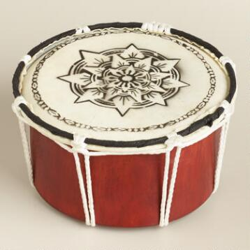 Hand Painted Wood and Leather Drum