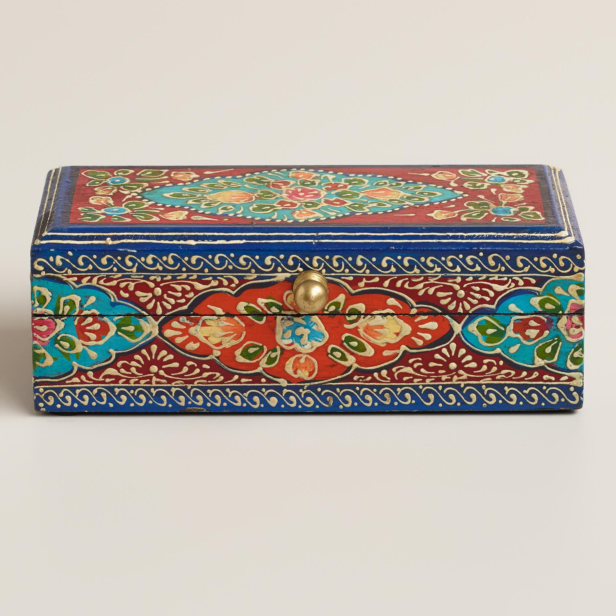 Small Hand Painted Multicolored Wood Chest World Market. Full resolution‎  snapshot, nominally Width 2000 Height 2000 pixels, snapshot with #AB3320.