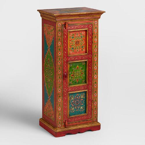 Hand Painted Floral Wood Cabinet