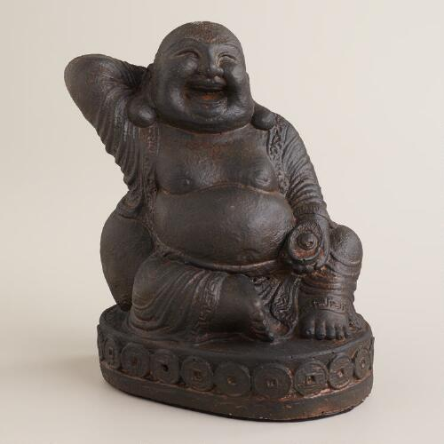 Antique Brown Cast Stone Happy Buddha