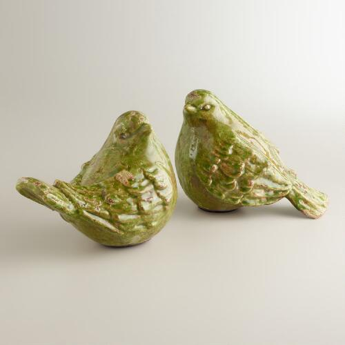 Green Ceramic Birds, Set of 2