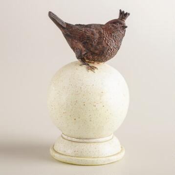 Resin Bird with Crown on Ball