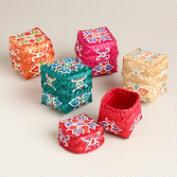 Mini Painted Besek Boxes, Set of 5