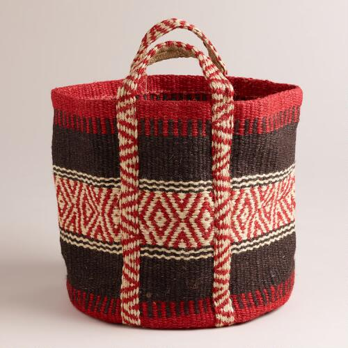 Red and Black Jute Storage Basket