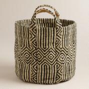 Black and White Jute Storage Basket
