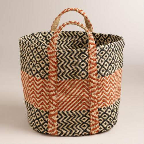 Red with Black Jute Storage Basket