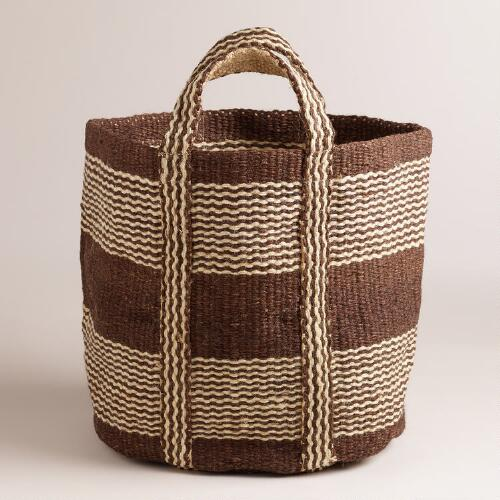 Stripe Jute Storage Basket