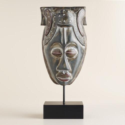 Large Wood Mask with Stand