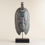 Albasia Wood Mask with Stand