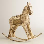 Whitewashed Wood Rocking Horse