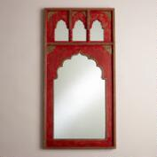 Red Mirror with Gold Detail