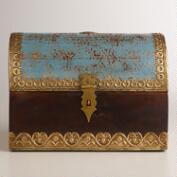 Small Blue Wood Trunk Box