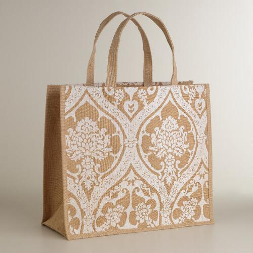 White Print Jute Tote Bag