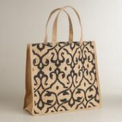 Black Print Jute Tote Bag