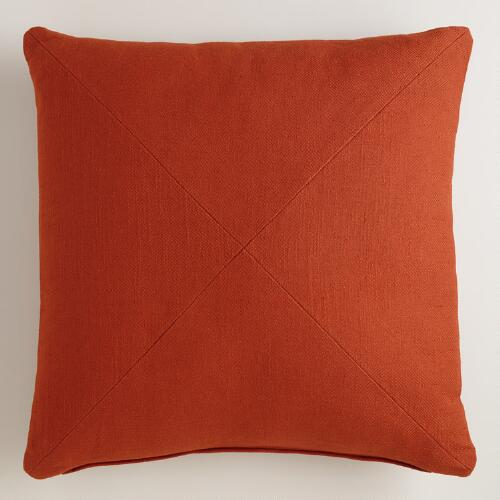Rust Herringbone Cotton Throw Pillow