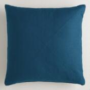 Night Blue Herringbone Cotton Throw Pillow