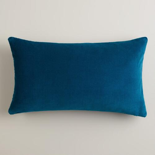Night Blue Velvet Lumbar Pillow