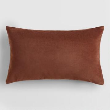 Chocolate Brown Velvet Lumbar  Pillow