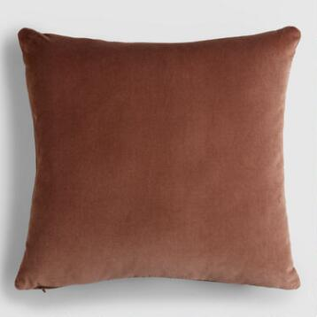Chocolate Brown Velvet  Throw Pillow