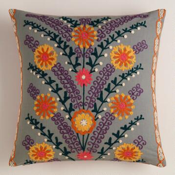 Gray Leaves and Blooms Throw Pillow