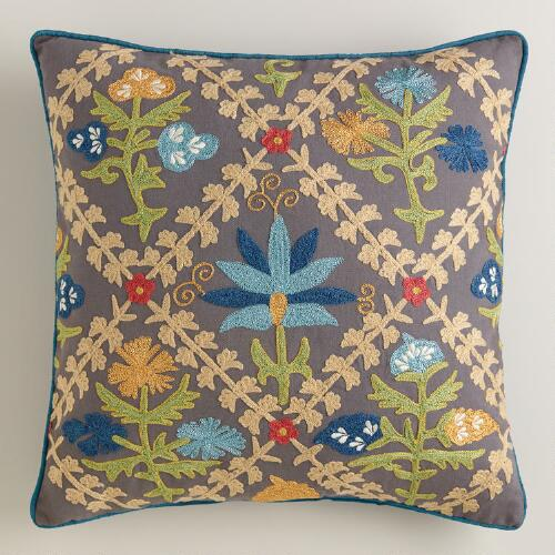 Woodland Floral Geo Throw Pillow
