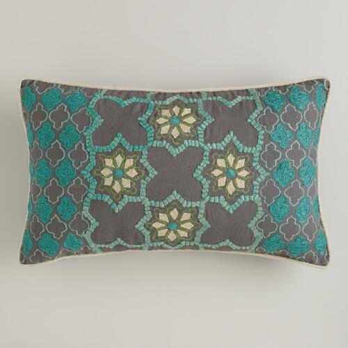 Floral Tile Lumbar Pillow