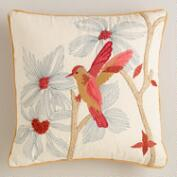 Amber and Coral Hummingbird Throw Pillow