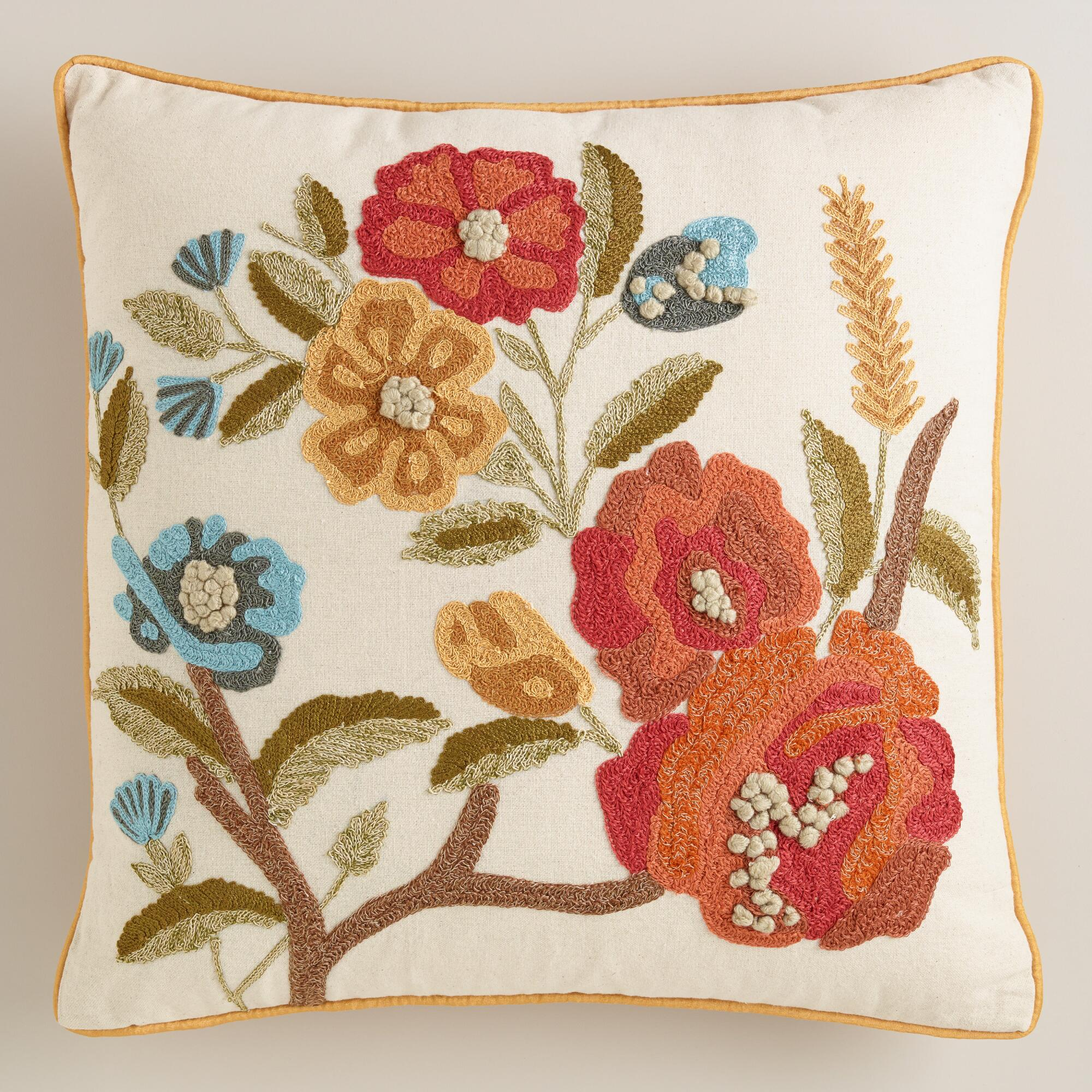 Floral Embroidered Decorative Pillow : Floral Embroidered Throw Pillow World Market