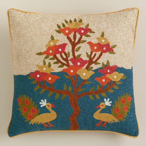 Desert Oasis Embroidered Throw Pillow