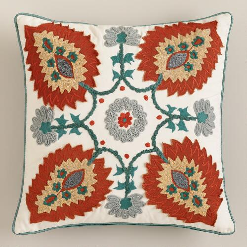 Blue and Rust Desert Caravan Throw Pillow