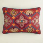 Red and Blue Embroidered Desert Lumbar Pillow