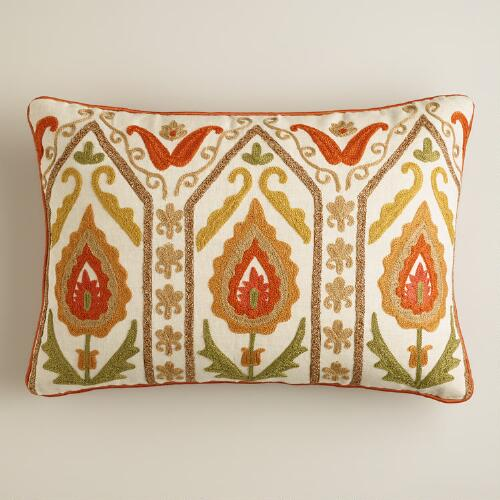 Rust and Green Embroidered Desert Lumbar Pillow