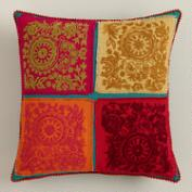 Multicolor Four Patch Throw Pillow