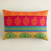 Multicolor Stripe Embroidered Lumbar Pillow