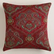 Red Jacquard Caravan Throw Pillow