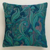 Deep Blue Pastoral Peacock Throw Pillow