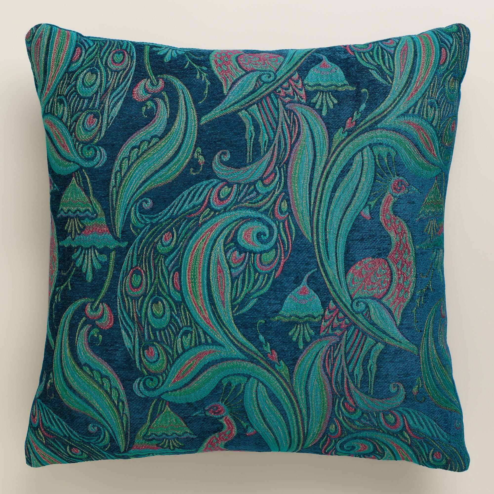 Peacock Blue Throw Pillow : Deep Blue Pastoral Peacock Throw Pillow World Market