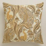Amber Pastoral Peacock Throw Pillow