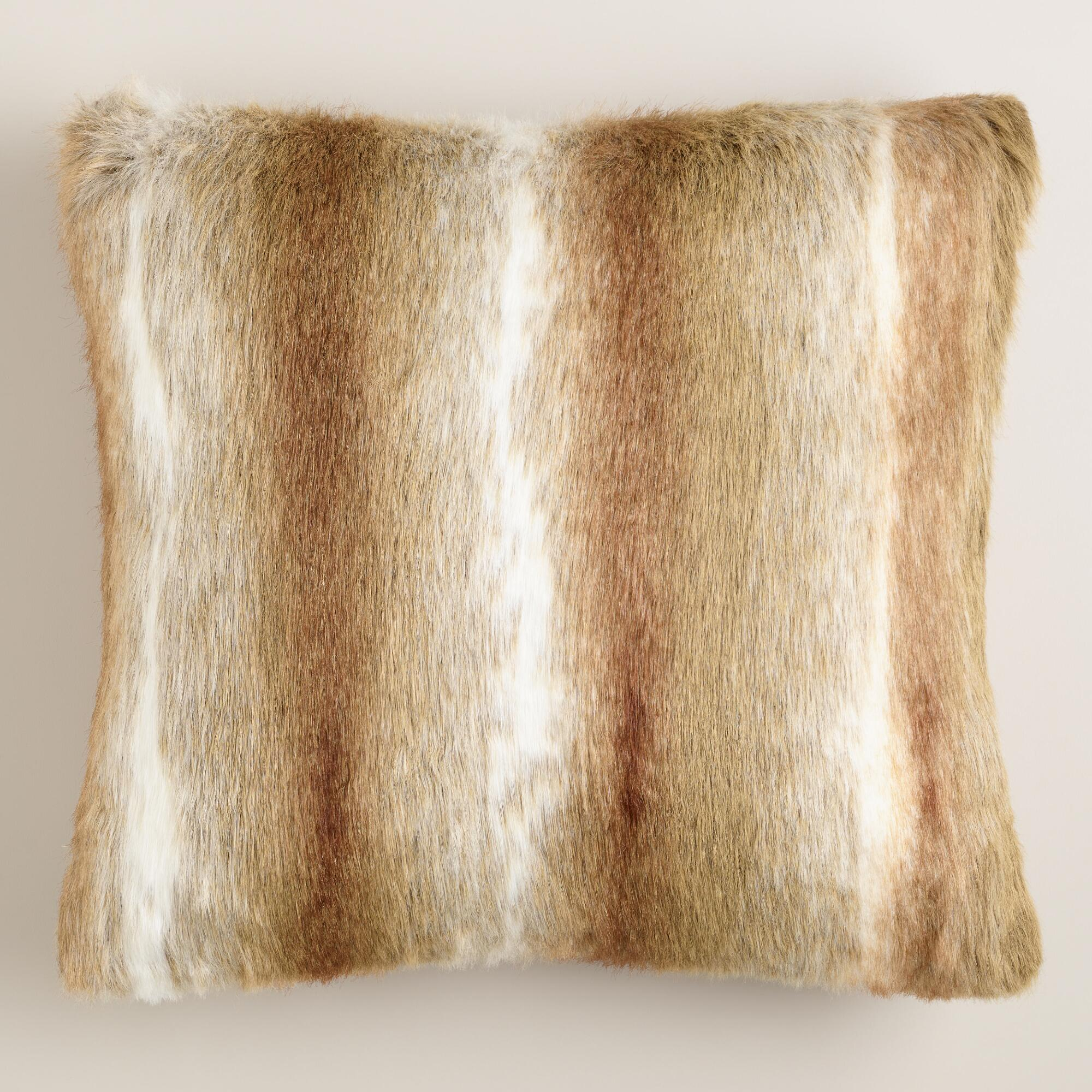 Brown Faux Fur Throw Pillow World Market