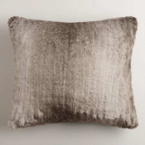 Gray Faux Fur Throw Pillow