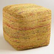 Yellow Recycled Faux Silk Pouf