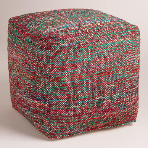 Green and Red Recycled Faux Silk Pouf