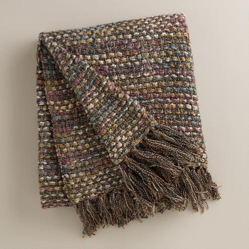 Plum Dots Woven Throw