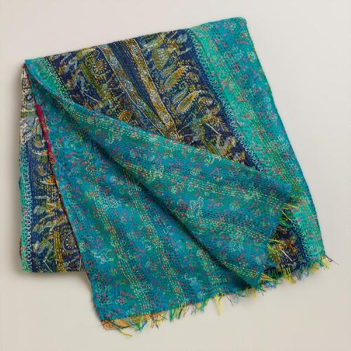 Silk Kantha Throw