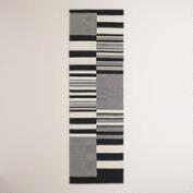 Black and White Stripe Dhurrie Runner